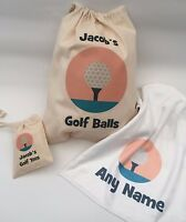 Personalised Golf Ball Bag, Tee Bag, towel, or Set, Great gift Dad, Father's day