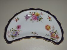 ROYAL CROWN DERBY COBALT AND FLORAL HALF MOON SHAPED DISH