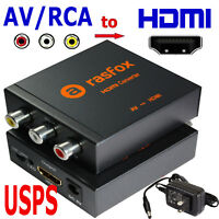 Powered AV RCA to HDMI Converter Box Composite CVBS Adapter 1080P 720P Upscaler