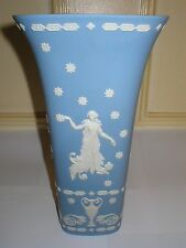 RARE LARGE WEDGWOOD JASPER WARE VASE PALE BLUE JASPERWARE 11.3/4in