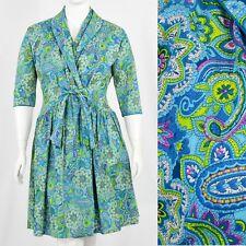 1950s Vintage Wrap Dress Paisley Print 50s Dress Rockabilly Size L 12 14