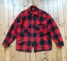 Vtg 50s Wool Buffalo Plaid Hunting Jacket Mens M Winter King Red Mackinaw Coat