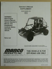 Manco Model 608-02 609-02 Go Kart Parts List Operators Manual Cart
