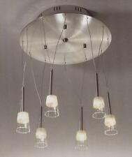 Christopher Wray modern 6 glass shade suspension light in brushed nickel finish
