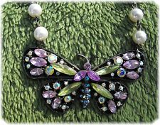 Large crystal Butterfly Pendant Necklace with faux Pearl Chain