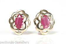 9ct Gold earrings Ruby Celtic Stud Made in UK Gift Boxed