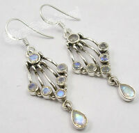 925 Solid Silver Fabulous RAINBOW MOONSTONE Gem GIRLS' NOUVEAU Earrings 2""