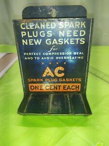 Vintage Rare Metal 'AC Spark Plug Gaskets One Cent Each' Display Box/Dispenser
