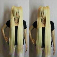 Light Blonde Yellow Long 2 Clip-On Ponytail Straight Synthetic Hair Full Wig