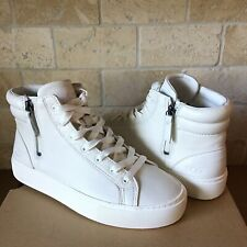 Ugg Olli White Leather Knit Hi-Top Sneakers Tennis Shoes Size Us 7 Womens