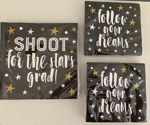 "Graduation Party Supplies Black Gold Napkins ""Shoot For The Stars Grad"" Lot"