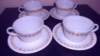 8 s kojoets Vintage BUTTERFLY GOLD Pyrex Glass Cups & Corelle Saucers 8 Pcs EUC