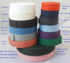 32mm Cotton Herringbone Tape Upholstery Bias Apron edging sewing Bunting strap