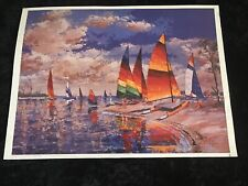 Hobies On The Beach 1987 Poster/Print Signed Jules Scheffer Surf & Wind Sailing