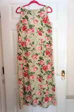 Genuine LAURA ASHLEY Vintage Beige/Pink Linen Blend Lined Maxi Dress Size 14