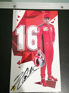Cartolina/Postcard Pilota Leclerc con autografo - Ferrari - F1
