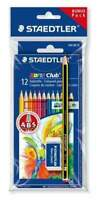 STAEDTLER Farbstifte Buntstifte Noris Club 12 Stück Radierer Bleistift Bonuspack