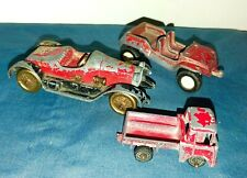 Vtg LOT OF 3 Used TOOTSIE TOY Jeep 1919 STUTZ BEARCAT Mini Truck 1960's Red CARS