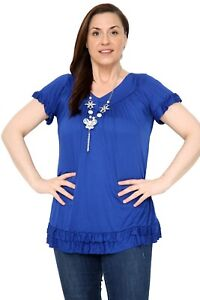 Ladies Plus Size Frill Necklace Gypsy Tunic Short Sleeve Long V Neck Tops 12-24