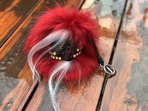 US Seller Monster Face Raccoon Fur Pom Keychain Bag Charm Raccoon