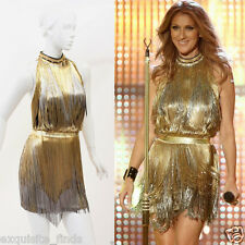 $32,315 Versace Atelier Gold Fringed Tie Dyed Gabardine Dress as seen on Celine