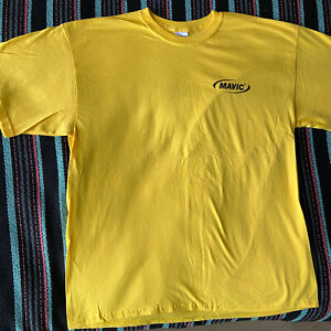 MAVIC Team Cycling Tee Shirt Cotton T-Shirt Yellow SMALL New