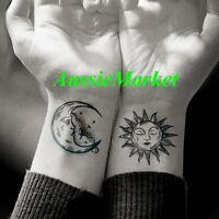 1 x sheet temporary tattoo sun moon sticker ladies girls body art fancy dress