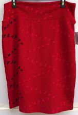 LuLaRoe Cassie Skirt Pencil XL Birds Red Pink Black