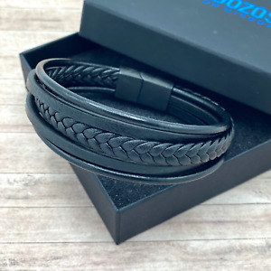 Mens Genuine Leather Bracelet  Multilayered Real Leather Braided Wristband Clasp
