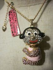 "BETSEY JOHNSON RHINESTONE CRYSTAL BEADS PINK GIRL MONKEY NECKLACE 28"" CHAIN"
