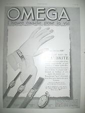 PUBLICITE DE PRESSE OMEGA MONTRE STAYBRITE L'HEURE EXACTE FRENCH AD 1934