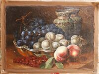 """Archaistic oil painting on crackeled canvas still life fruits painted 20""""x28"""""""