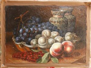 "Archaistic oil painting on crackeled canvas still life fruits painted 20""x28"""