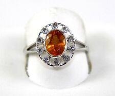 Oval Orange Mandarin Garnet Gemstone & Diamond Halo Ring 14k White Gold 1.66Ct