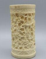 Antique Porcelain Chinese Vase Sculpted Carved Figures Candleholder