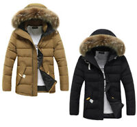 Mens Cotton Padded Jackets Hooded Fur Collar Coat Winter Thick Outerwear Parka