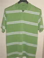 Men's Izod Golf Cool-FX XFG Size L Large Cool Polo Shirt Green White Stripe