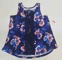 NWT Justice Kids Girls Size 6 7 8 10 12 14 16 18 20 Navy Crochet Knit Swing Top