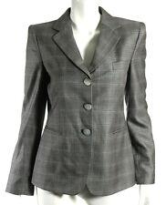 GIORGIO ARMANI Steel Gray Wool Silk Plaid Logo Button Blazer Jacket 40