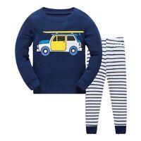 Long Sleeve Boy Truck Pajamas Suit Pyjamas For Baby Children Stripe Sleepwear