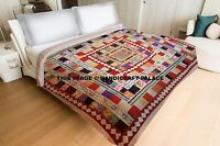 Indian Applique Patchwork Kantha Quilt Queen Size Bedding Bed Cover Coverlets