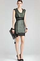 REISS TALI SPARKLE BLACK LACE SEQUIN GREEN TUNIC COCKTAIL DRESS UK 12 US 8
