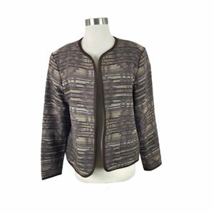 Pendleton L Brown Southwest 100% Virgin Wool Open Blazer Jacket