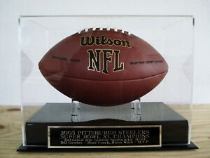 Pittsburgh Steelers Football Display Case With A Super Bowl XL Nameplate