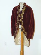 Victorian 1906 !8th Century Metallic Gold Embroidered Red Velvet Tail Coat MED