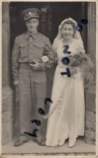 WW2 soldier RASC Royal Army Service Corps with Bride on Wedding Day Abersycham