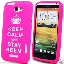 Pink Soft Gel HTC ONE X Cover Keep Calm and Stay Reem Stocking Filler Gift