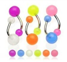 7 Piece Glow In The Dark Belly Bars Navel Body Piercing Plug Jewellery Makeup