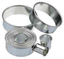 Kitchencraft Set Eleven Round Metal Biscuit Cutters in Tin. Baking/Cakes/Icing