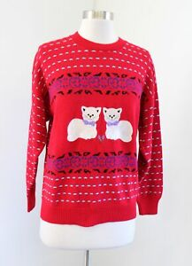 Vtg 80s 90s Red Cat Heart Geometric Print Pullover Sweater Size S Retro Cottage